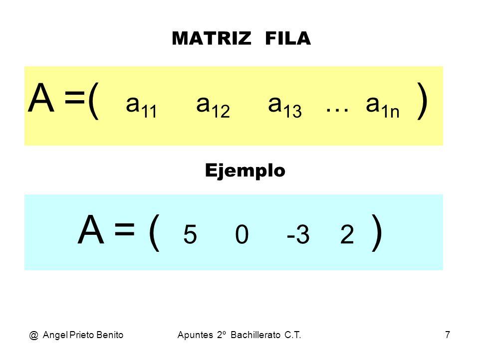 @ Angel Prieto BenitoApuntes 2º Bachillerato C.T.8 MATRIZ COLUMNA a 11 a 21 A= a 31 … a n1 Ejemplo 4 - 2 A= 0 3 1