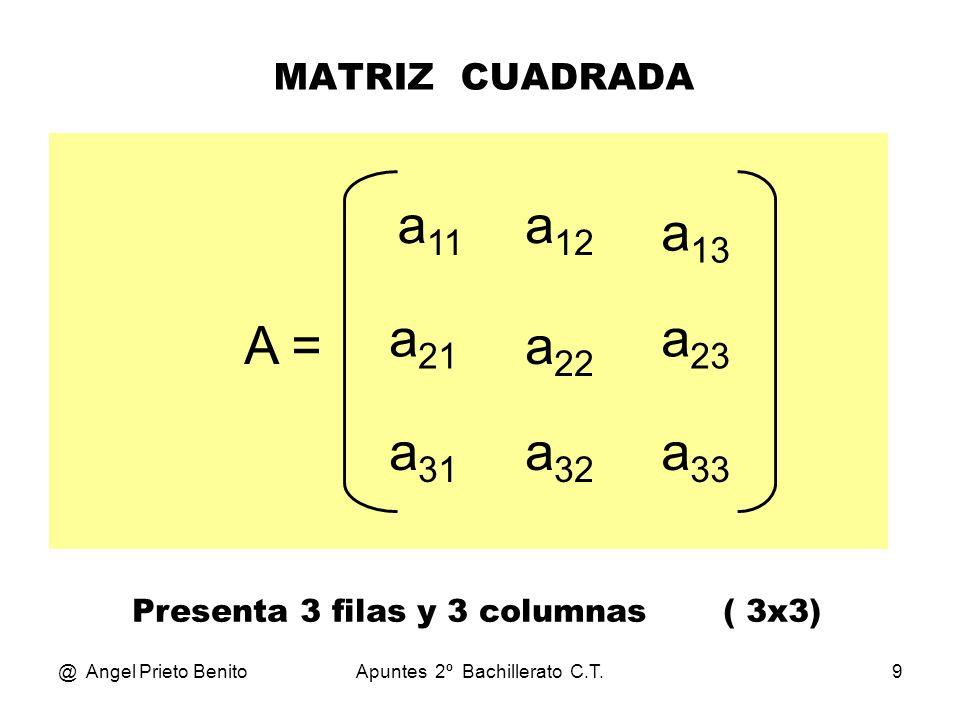 @ Angel Prieto BenitoApuntes 2º Bachillerato C.T.10 MATRIZ DIAGONAL A = a 11 0 0 0 a 22 0 00a 33 Todos son ceros, excepto los de la diagonal principal.
