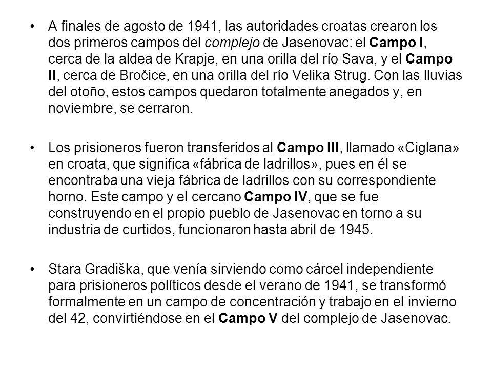 A finales de agosto de 1941, las autoridades croatas crearon los dos primeros campos del complejo de Jasenovac: el Campo I, cerca de la aldea de Krapj