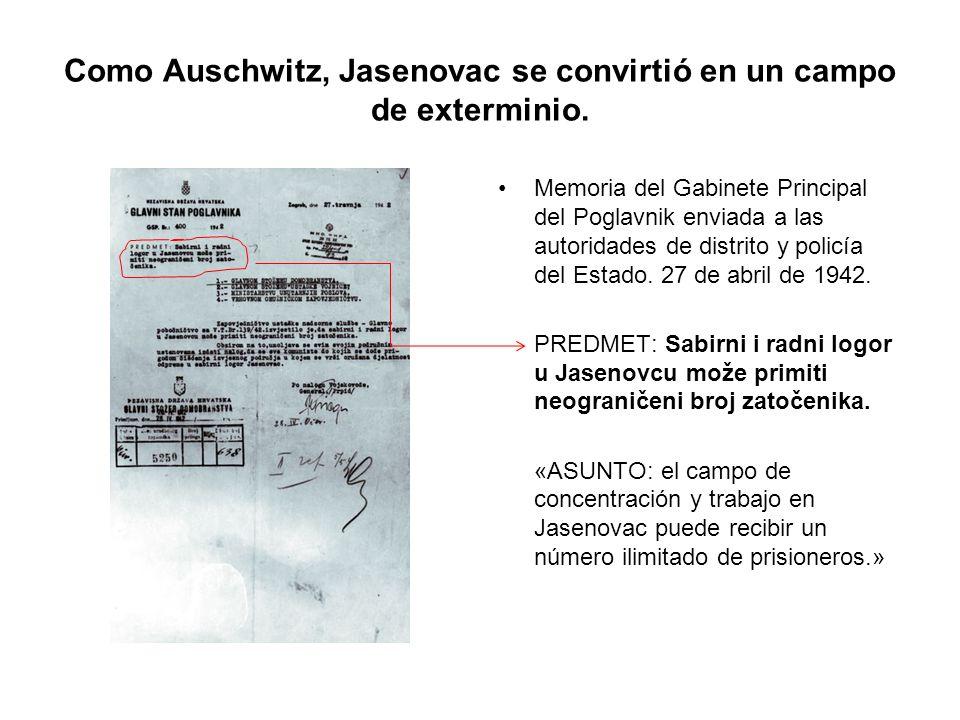 Como Auschwitz, Jasenovac se convirtió en un campo de exterminio. Memoria del Gabinete Principal del Poglavnik enviada a las autoridades de distrito y