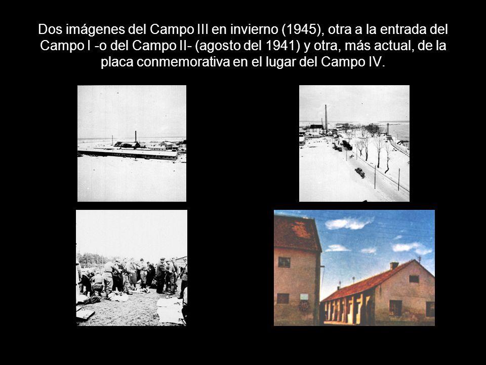 Dos imágenes del Campo III en invierno (1945), otra a la entrada del Campo I -o del Campo II- (agosto del 1941) y otra, más actual, de la placa conmem