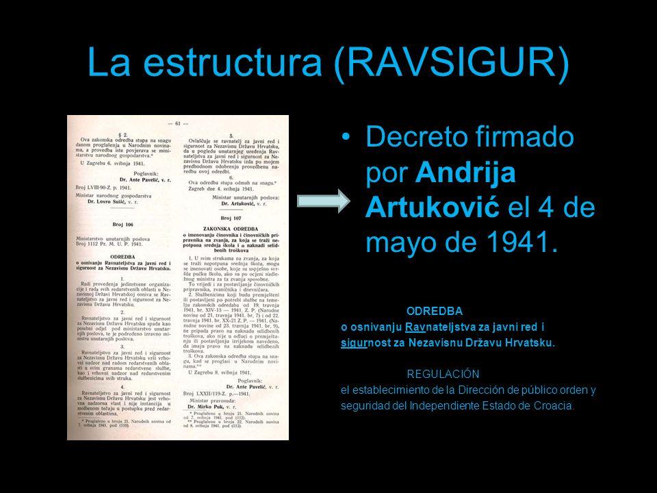 La estructura (RAVSIGUR) Decreto firmado por Andrija Artuković el 4 de mayo de 1941. ODREDBA o osnivanju Ravnateljstva za javni red i sigurnost za Nez