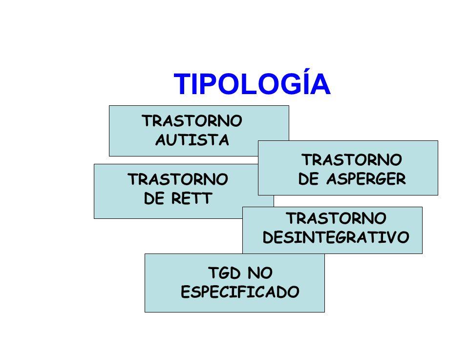 TIPOLOGÍA TRASTORNO AUTISTA TRASTORNO DE ASPERGER TRASTORNO DE RETT TRASTORNO DESINTEGRATIVO TGD NO ESPECIFICADO