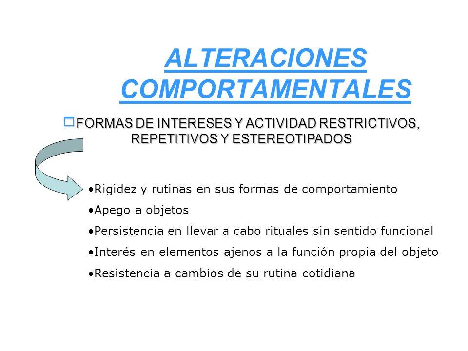 ALTERACIONES COMPORTAMENTALES FORMAS DE INTERESES Y ACTIVIDAD RESTRICTIVOS, REPETITIVOS Y ESTEREOTIPADOS FORMAS DE INTERESES Y ACTIVIDAD RESTRICTIVOS,