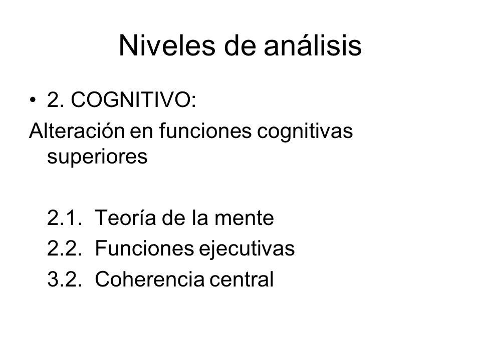 Niveles de análisis 2. COGNITIVO: Alteración en funciones cognitivas superiores 2.1. Teoría de la mente 2.2. Funciones ejecutivas 3.2. Coherencia cent
