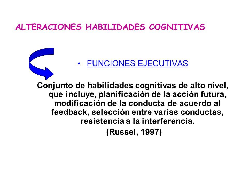 FUNCIONES EJECUTIVAS Conjunto de habilidades cognitivas de alto nivel, que incluye, planificación de la acción futura, modificación de la conducta de