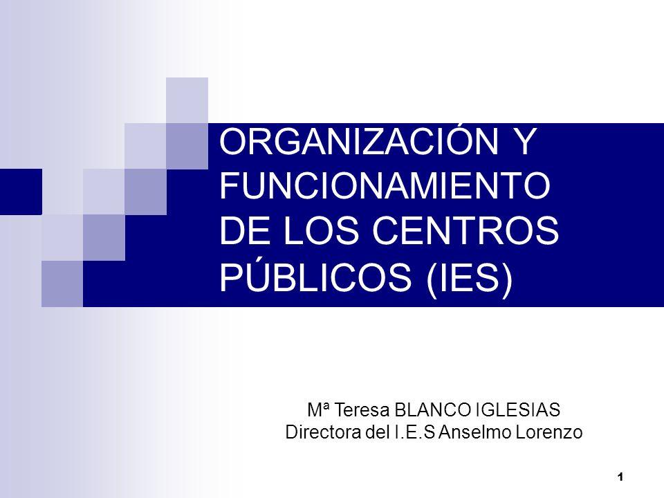 1 ORGANIZACIÓN Y FUNCIONAMIENTO DE LOS CENTROS PÚBLICOS (IES) Mª Teresa BLANCO IGLESIAS Directora del I.E.S Anselmo Lorenzo