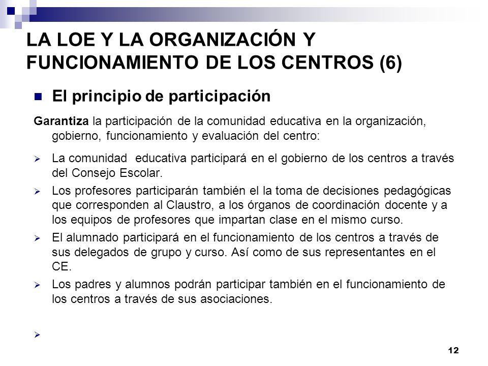 LA LOE Y LA ORGANIZACIÓN Y FUNCIONAMIENTO DE LOS CENTROS (6) El principio de participación Garantiza la participación de la comunidad educativa en la organización, gobierno, funcionamiento y evaluación del centro: La comunidad educativa participará en el gobierno de los centros a través del Consejo Escolar.