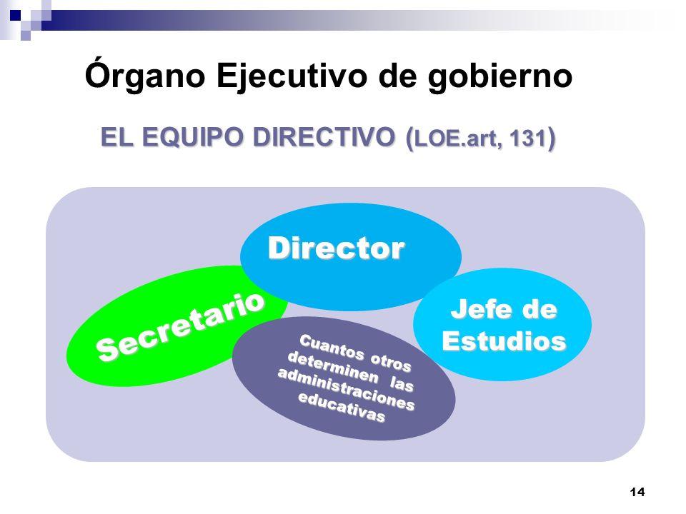 14 Órgano Ejecutivo de gobierno EL EQUIPO DIRECTIVO ( LOE.art, 131 ) Secretario Director Jefe de Estudios Cuantos otros determinen las administraciones educativas