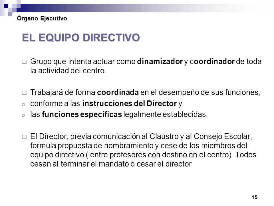 15 Órgano Ejecutivo EL EQUIPO DIRECTIVO Grupo que intenta actuar como dinamizador y coordinador de toda la actividad del centro.