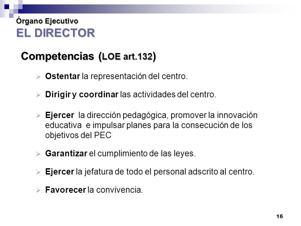 16 Órgano Ejecutivo EL DIRECTOR Competencias ( LOE art.132 ) Ostentar la representación del centro.