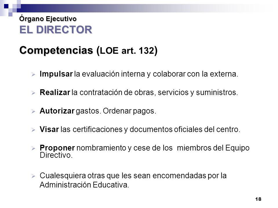 18 Órgano Ejecutivo EL DIRECTOR Competencias Órgano Ejecutivo EL DIRECTOR Competencias ( LOE art.