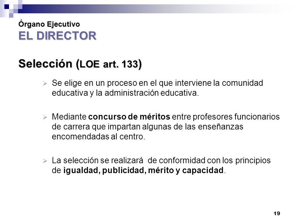 19 Órgano Ejecutivo EL DIRECTOR Selección ( LOE art.