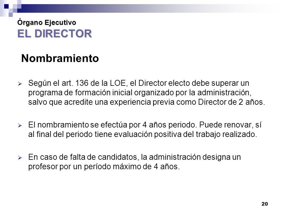 Órgano Ejecutivo EL DIRECTOR Nombramiento Según el art.