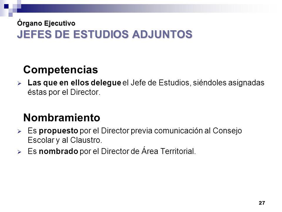 27 Órgano Ejecutivo JEFES DE ESTUDIOS ADJUNTOS Competencias Las que en ellos delegue el Jefe de Estudios, siéndoles asignadas éstas por el Director.