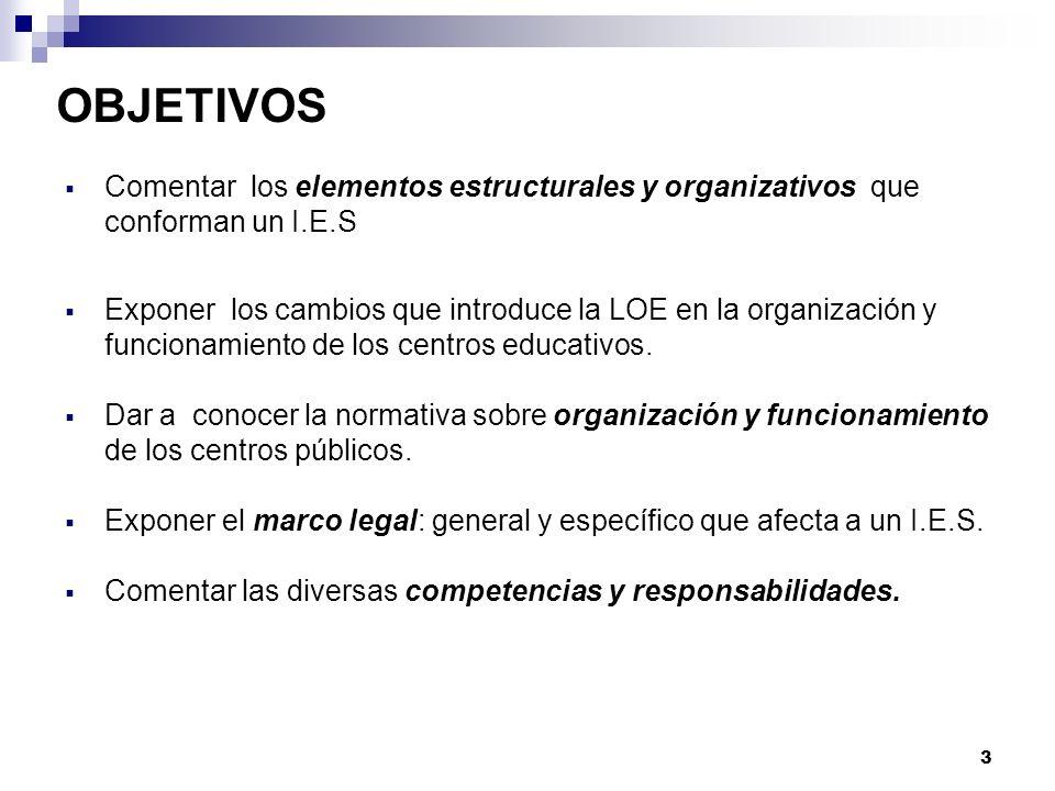 OBJETIVOS Comentar los elementos estructurales y organizativos que conforman un I.E.S Exponer los cambios que introduce la LOE en la organización y funcionamiento de los centros educativos.