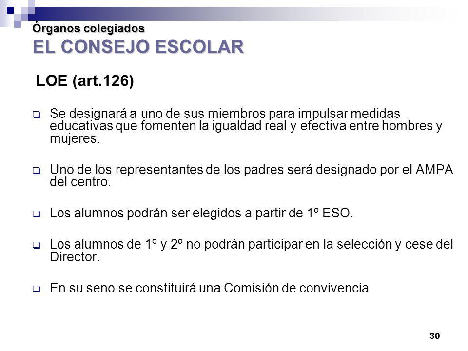 30 Órganos colegiados EL CONSEJO ESCOLAR LOE (art.126) Se designará a uno de sus miembros para impulsar medidas educativas que fomenten la igualdad real y efectiva entre hombres y mujeres.