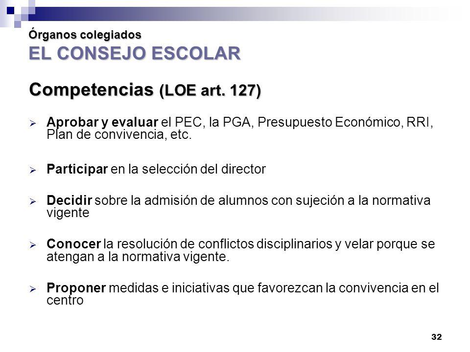 32 Órganos colegiados EL CONSEJO ESCOLAR Competencias (LOE art.