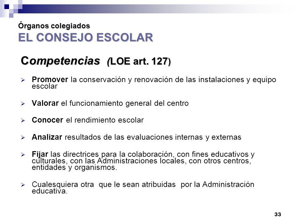 33 Órganos colegiados EL CONSEJO ESCOLAR Competencias (LOE art.