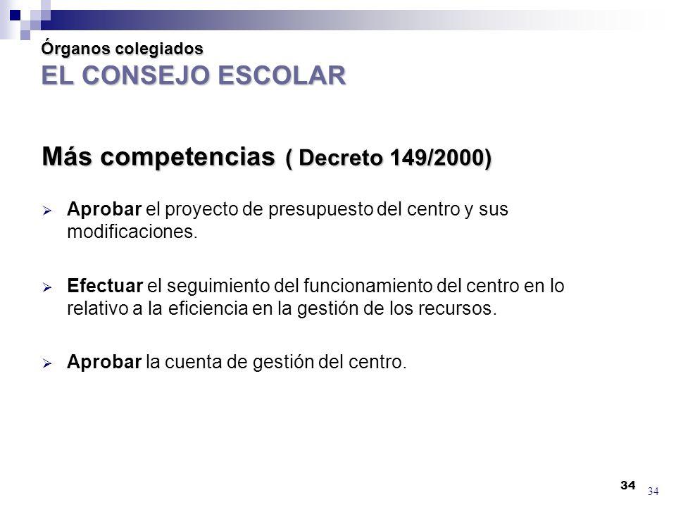 34 Órganos colegiados EL CONSEJO ESCOLAR Más competencias ( Decreto 149/2000) Aprobar el proyecto de presupuesto del centro y sus modificaciones.
