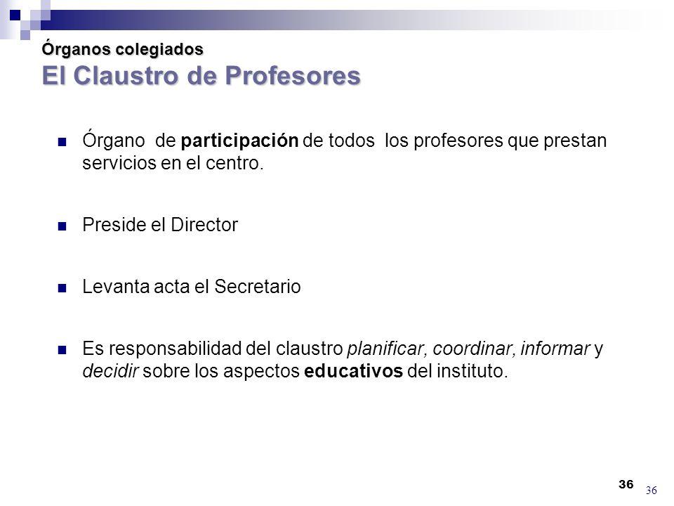 36 Órganos colegiados El Claustro de Profesores Órgano de participación de todos los profesores que prestan servicios en el centro.