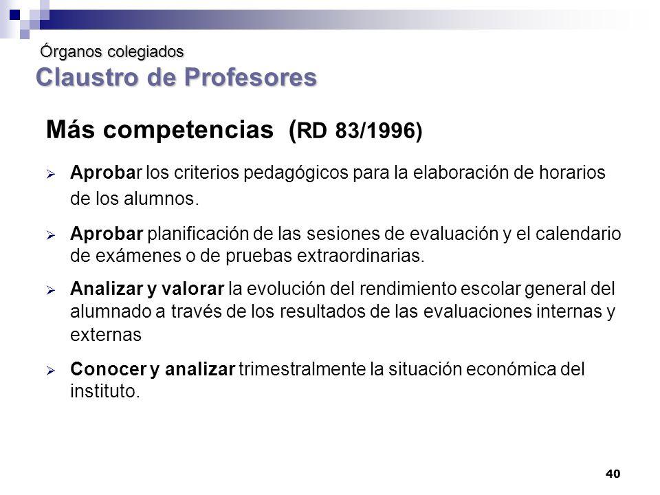 40 Órganos colegiados Claustro de Profesores Órganos colegiados Claustro de Profesores Más competencias ( RD 83/1996) Aprobar los criterios pedagógicos para la elaboración de horarios de los alumnos.