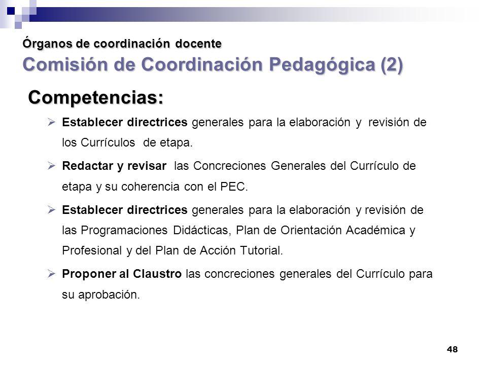 48 Órganos de coordinación docente Comisión de Coordinación Pedagógica (2) Competencias: Establecer directrices generales para la elaboración y revisión de los Currículos de etapa.