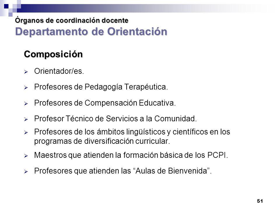 51 Órganos de coordinación docente Departamento de Orientación Órganos de coordinación docente Departamento de Orientación Composición Orientador/es.