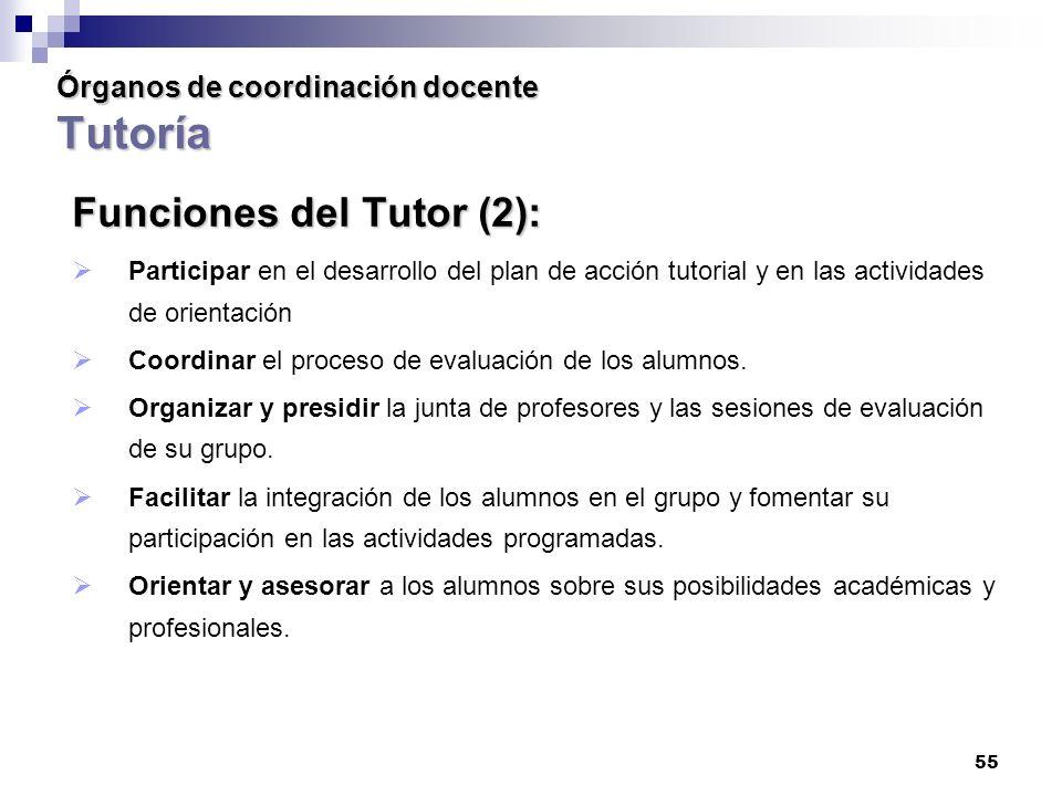 55 Órganos de coordinación docente Tutoría Funciones del Tutor (2): Participar en el desarrollo del plan de acción tutorial y en las actividades de orientación Coordinar el proceso de evaluación de los alumnos.