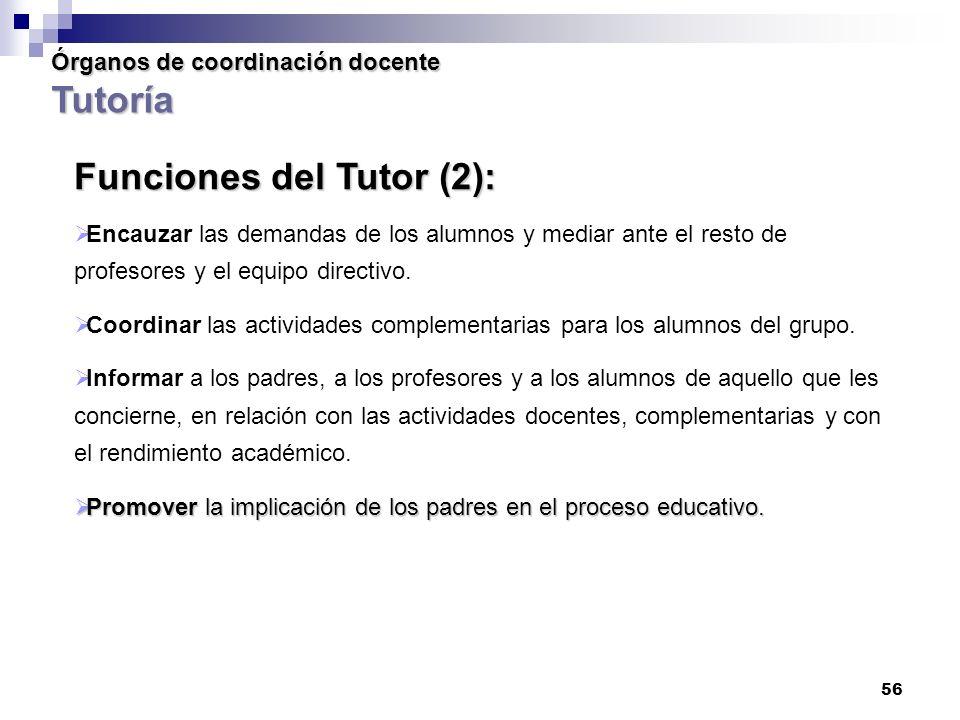 56 Órganos de coordinación docente Tutoría Funciones del Tutor (2): Encauzar las demandas de los alumnos y mediar ante el resto de profesores y el equipo directivo.