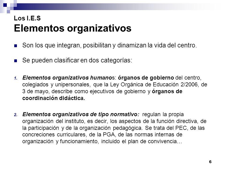 Los I.E.S Elementos organizativos Son los que integran, posibilitan y dinamizan la vida del centro.