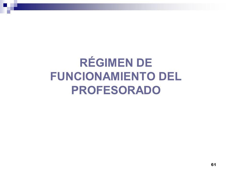 61 RÉGIMEN DE FUNCIONAMIENTO DEL PROFESORADO