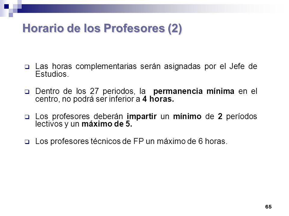 65 Horario de los Profesores (2) Las horas complementarias serán asignadas por el Jefe de Estudios.