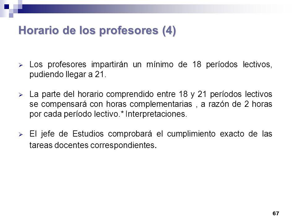67 Horario de los profesores (4) Los profesores impartirán un mínimo de 18 períodos lectivos, pudiendo llegar a 21.