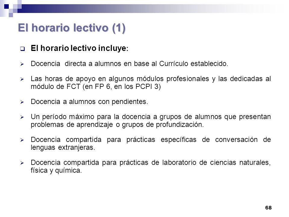 68 El horario lectivo (1) El horario lectivo incluye : Docencia directa a alumnos en base al Currículo establecido.