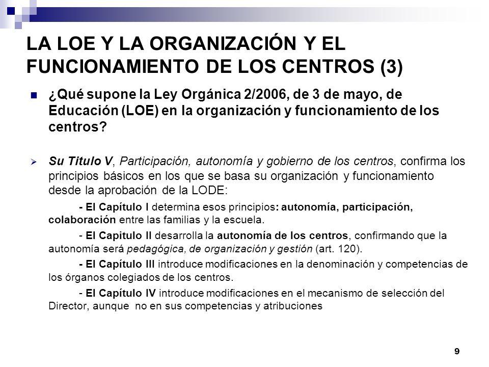 LA LOE Y LA ORGANIZACIÓN Y EL FUNCIONAMIENTO DE LOS CENTROS (3) ¿Qué supone la Ley Orgánica 2/2006, de 3 de mayo, de Educación (LOE) en la organización y funcionamiento de los centros.