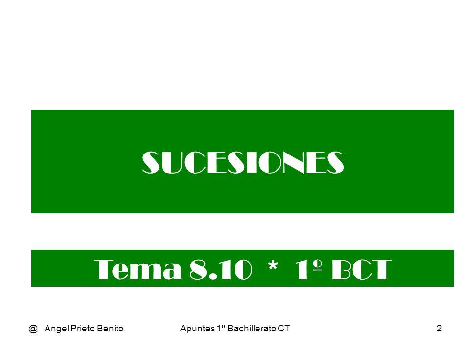 @ Angel Prieto BenitoApuntes 1º Bachillerato CT3 Límite de una sucesión Una sucesión es una función real cuyo dominio es el conjunto de los números naturales N.
