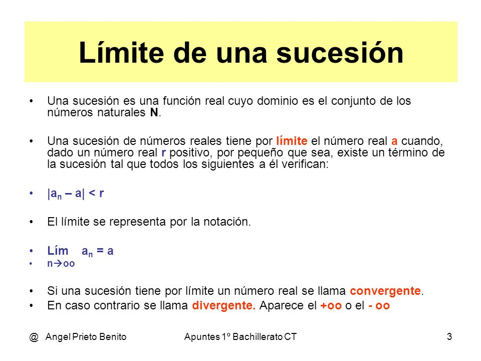 @ Angel Prieto BenitoApuntes 1º Bachillerato CT4 Ejemplo 1 2n - 1 Sea la sucesión a n = -------- n Hallar su límite.