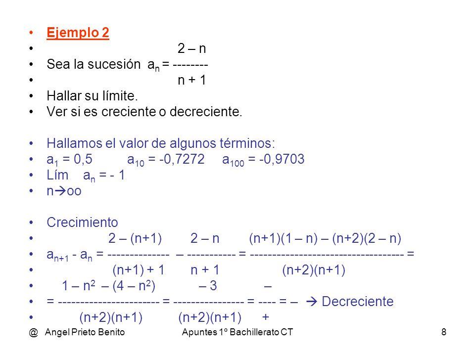 @ Angel Prieto BenitoApuntes 1º Bachillerato CT9 LÍMITES DE SUCESIONES Tema 8.11 * 1º BCT