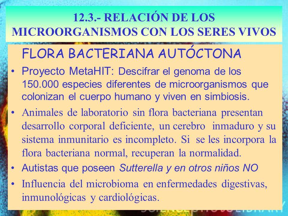 Sutterella 12.3.- RELACIÓN DE LOS MICROORGANISMOS CON LOS SERES VIVOS FLORA BACTERIANA AUTÓCTONA Proyecto MetaHIT: Descifrar el genoma de los 150.000