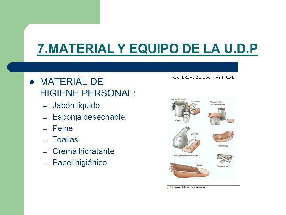 7.MATERIAL Y EQUIPO DE LA U.D.P MATERIAL DE HIGIENE PERSONAL: – Jabón líquido – Esponja desechable. – Peine – Toallas – Crema hidratante – Papel higié