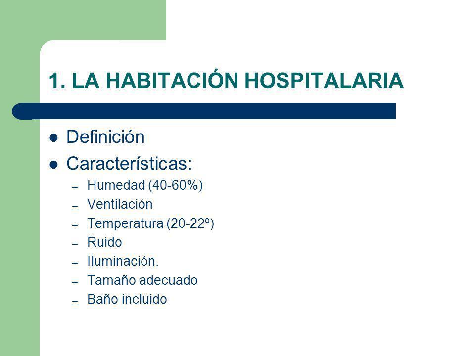 1. LA HABITACIÓN HOSPITALARIA Definición Características: – Humedad (40-60%) – Ventilación – Temperatura (20-22º) – Ruido – Iluminación. – Tamaño adec