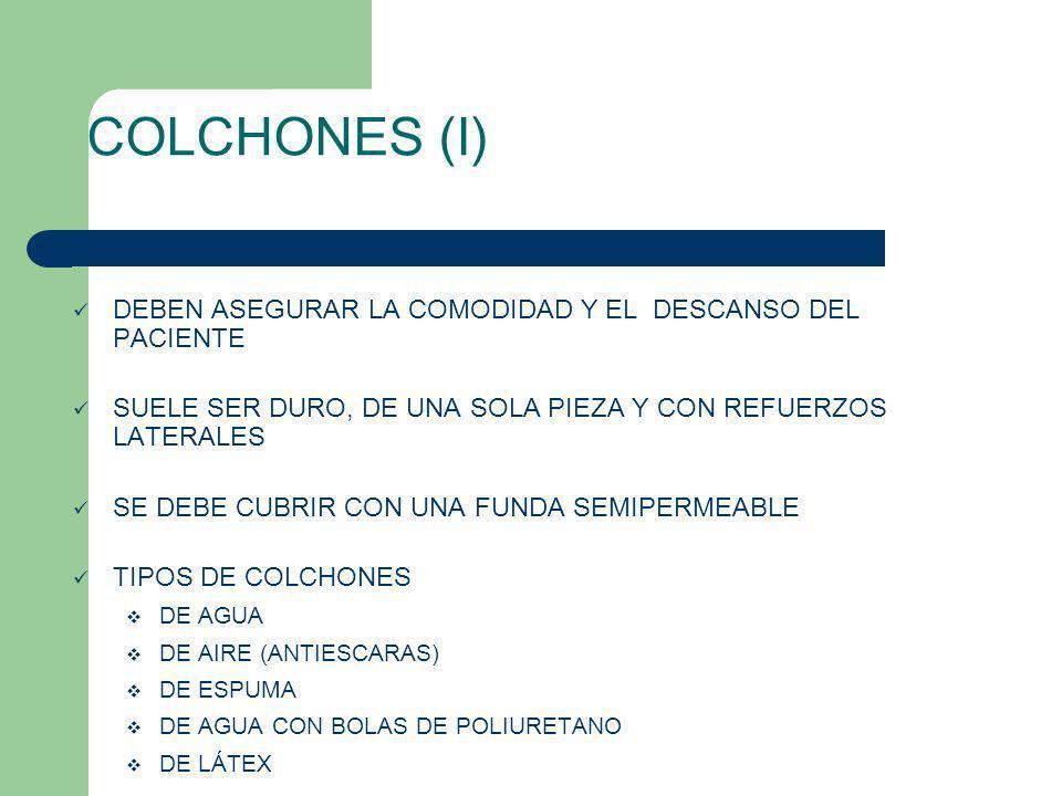 COLCHONES (I) DEBEN ASEGURAR LA COMODIDAD Y EL DESCANSO DEL PACIENTE SUELE SER DURO, DE UNA SOLA PIEZA Y CON REFUERZOS LATERALES SE DEBE CUBRIR CON UN