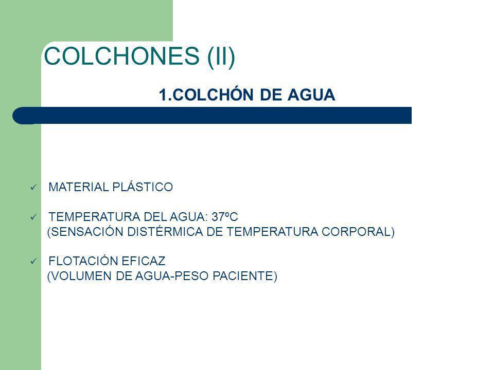 COLCHONES (II) 1.COLCHÓN DE AGUA MATERIAL PLÁSTICO TEMPERATURA DEL AGUA: 37ºC (SENSACIÓN DISTÉRMICA DE TEMPERATURA CORPORAL) FLOTACIÓN EFICAZ (VOLUMEN