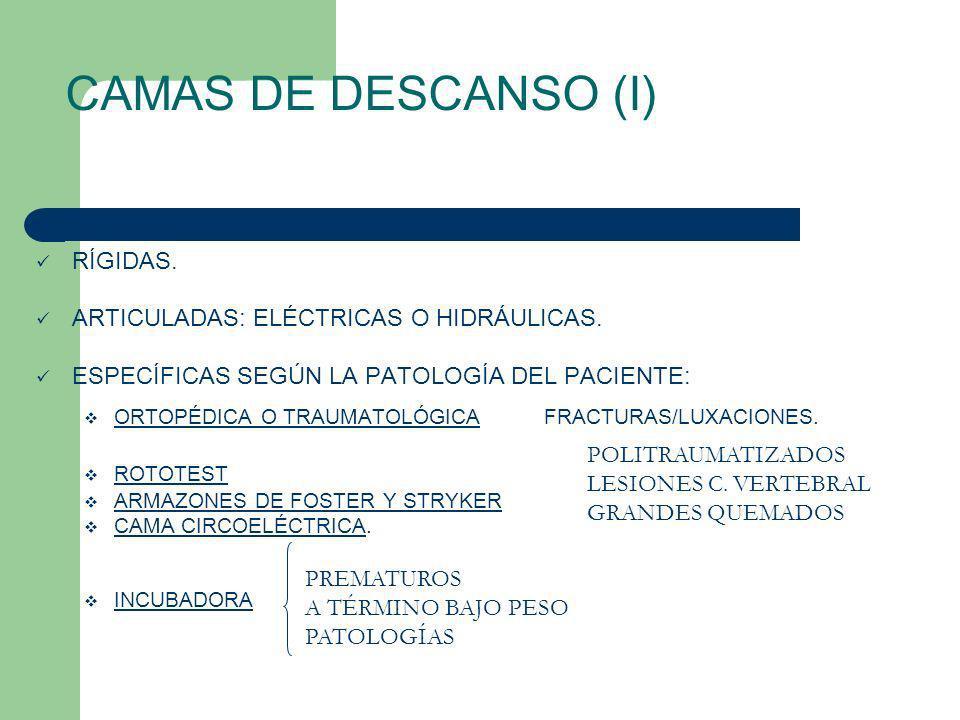 RÍGIDAS. ARTICULADAS: ELÉCTRICAS O HIDRÁULICAS. ESPECÍFICAS SEGÚN LA PATOLOGÍA DEL PACIENTE: ORTOPÉDICA O TRAUMATOLÓGICA FRACTURAS/LUXACIONES. ROTOTES
