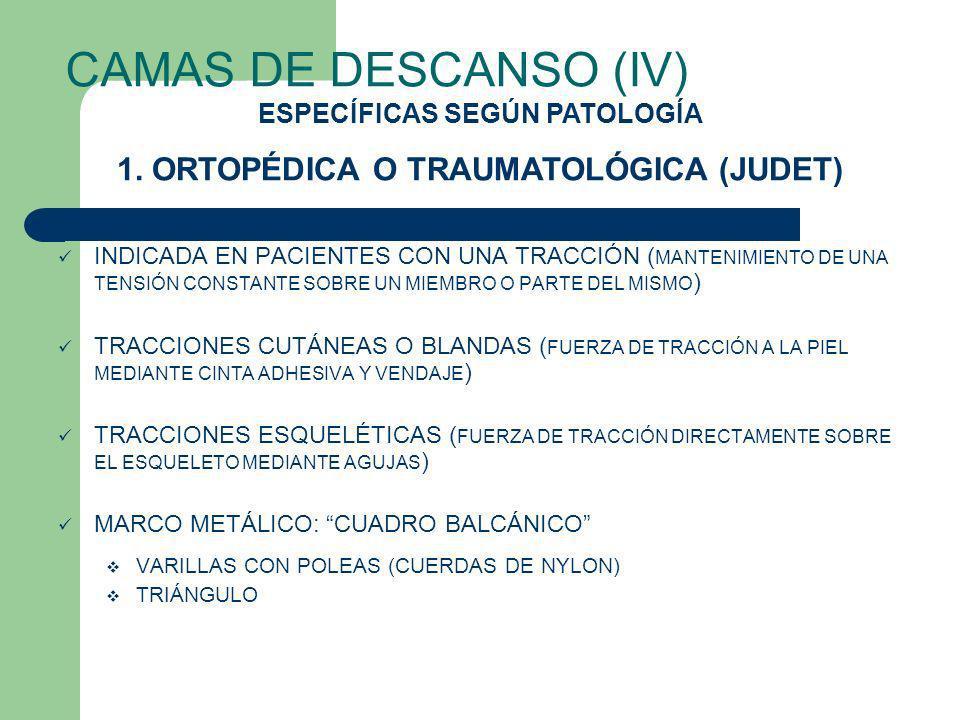 CAMAS DE DESCANSO (IV) INDICADA EN PACIENTES CON UNA TRACCIÓN ( MANTENIMIENTO DE UNA TENSIÓN CONSTANTE SOBRE UN MIEMBRO O PARTE DEL MISMO ) TRACCIONES