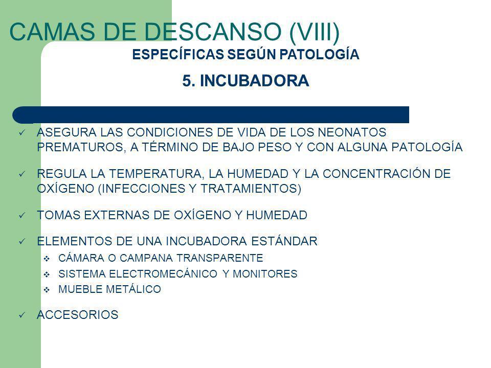 CAMAS DE DESCANSO (VIII) ASEGURA LAS CONDICIONES DE VIDA DE LOS NEONATOS PREMATUROS, A TÉRMINO DE BAJO PESO Y CON ALGUNA PATOLOGÍA REGULA LA TEMPERATU