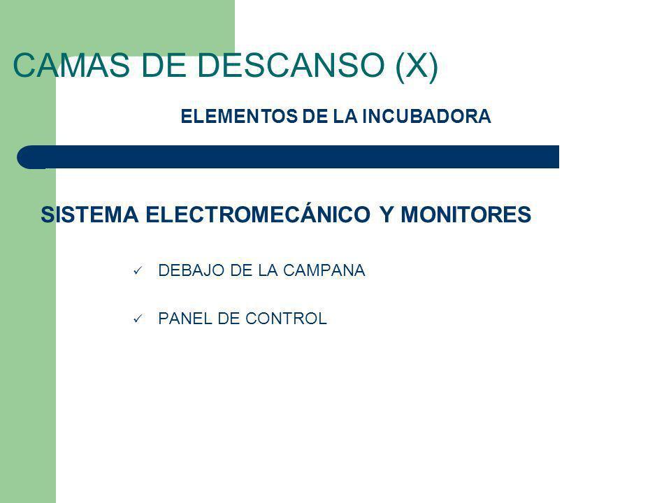 CAMAS DE DESCANSO (X) DEBAJO DE LA CAMPANA PANEL DE CONTROL ELEMENTOS DE LA INCUBADORA SISTEMA ELECTROMECÁNICO Y MONITORES