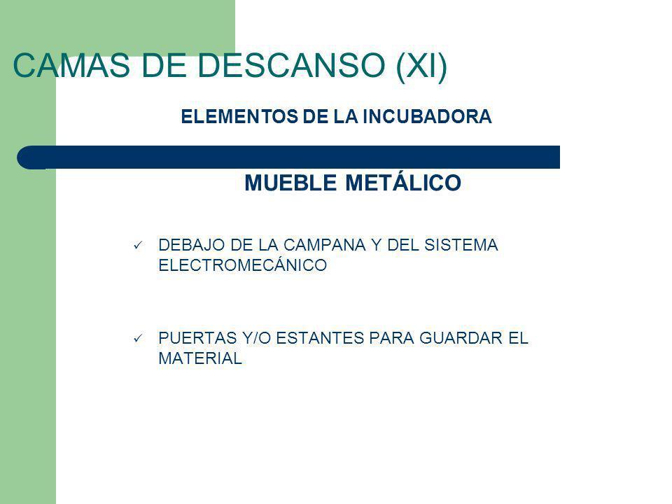 CAMAS DE DESCANSO (XI) DEBAJO DE LA CAMPANA Y DEL SISTEMA ELECTROMECÁNICO PUERTAS Y/O ESTANTES PARA GUARDAR EL MATERIAL ELEMENTOS DE LA INCUBADORA MUE