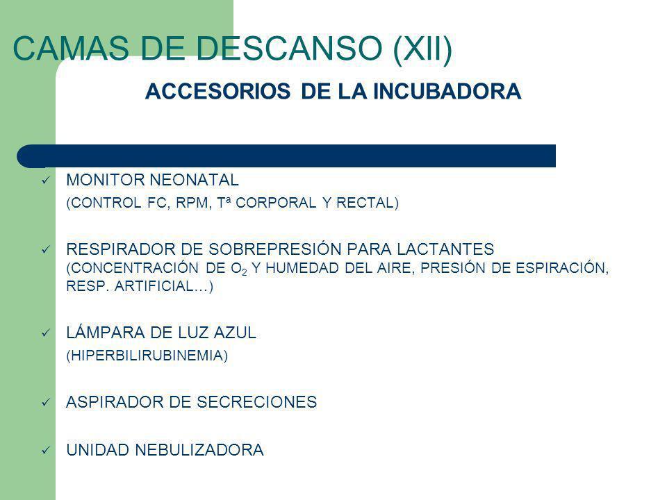 CAMAS DE DESCANSO (XII) MONITOR NEONATAL (CONTROL FC, RPM, Tª CORPORAL Y RECTAL) RESPIRADOR DE SOBREPRESIÓN PARA LACTANTES (CONCENTRACIÓN DE O 2 Y HUM